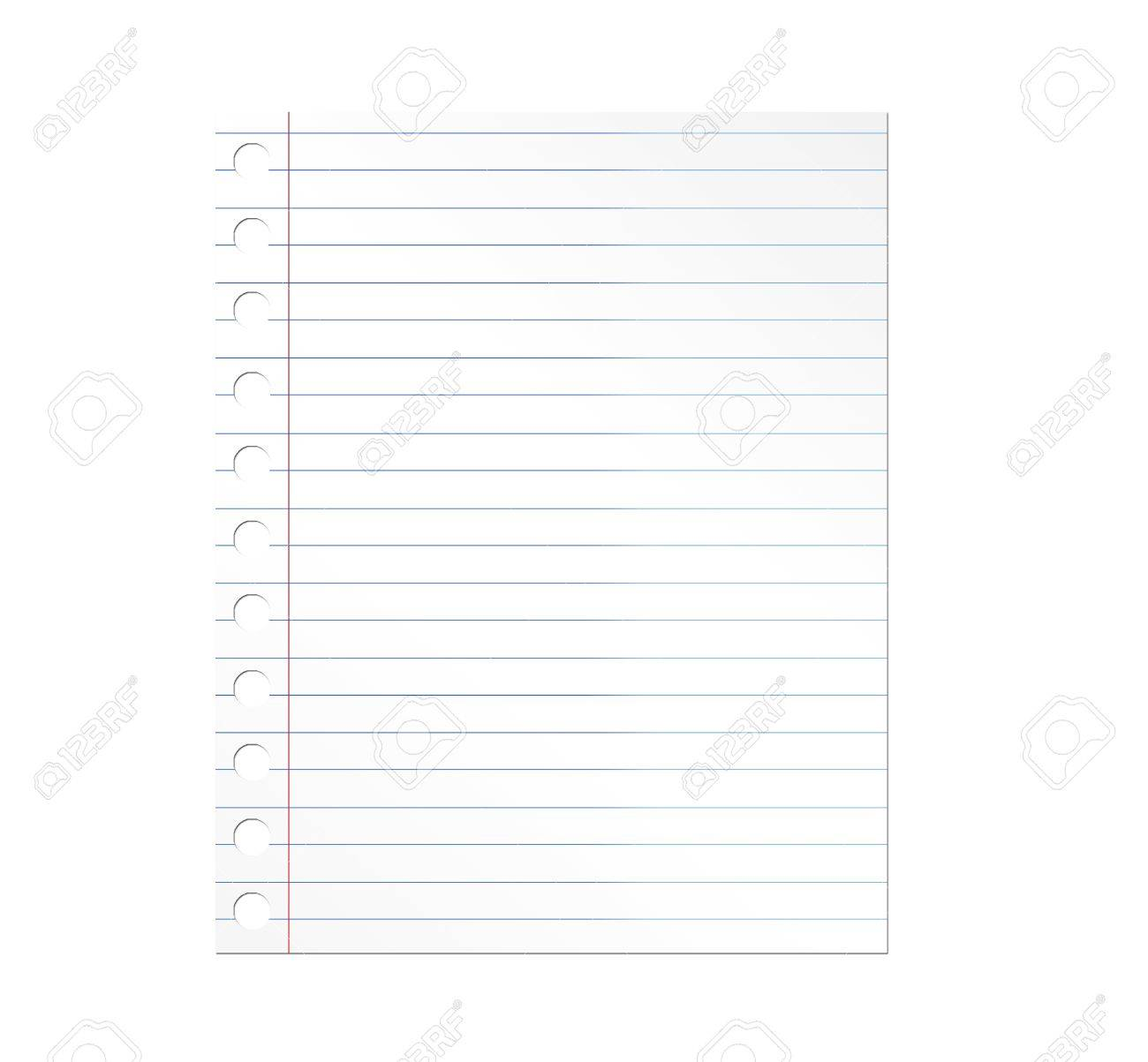 Notebook paper illustration over white background. Illustration Stock Photo - 8912853