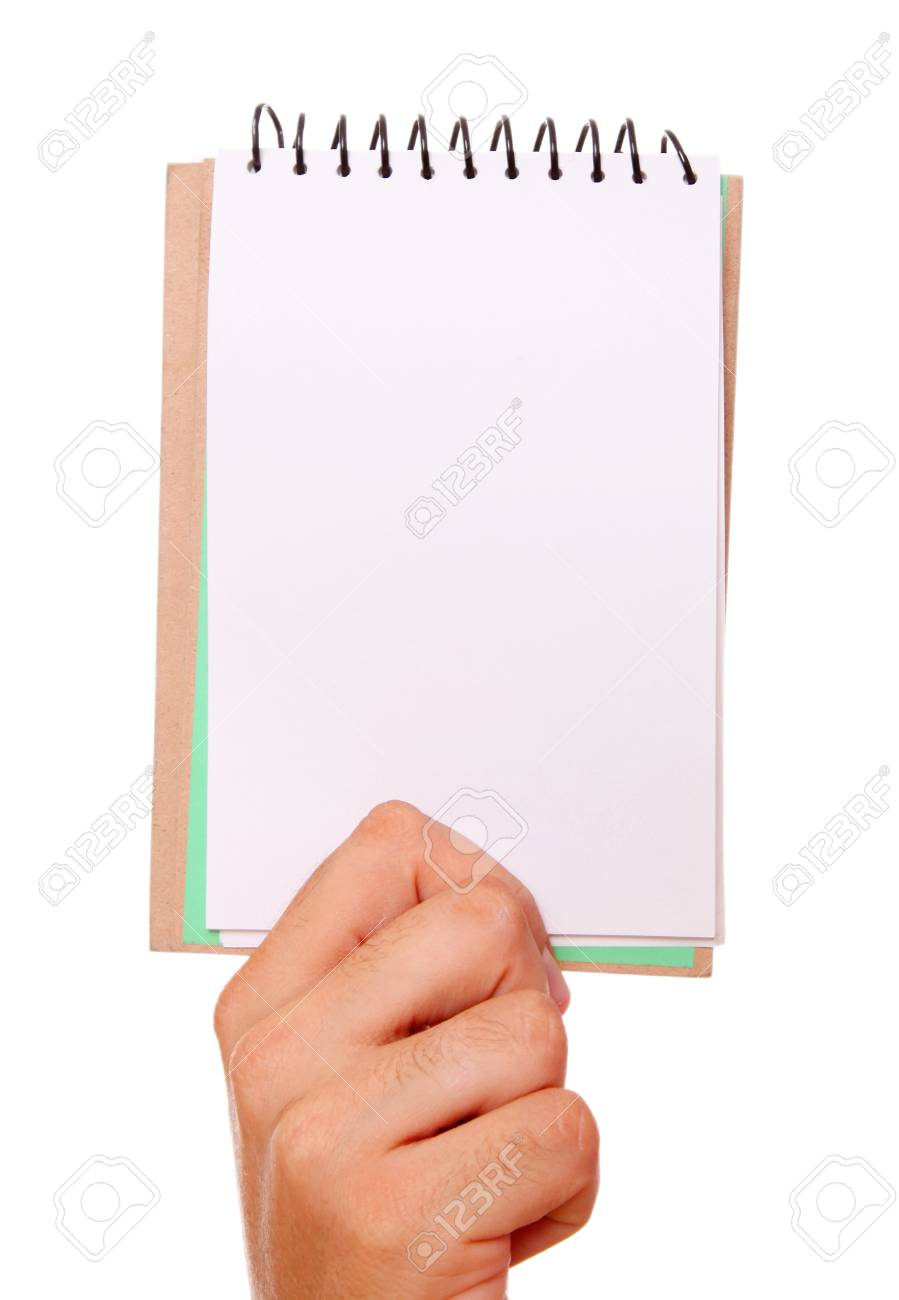 hand holding a notebook over white background Stock Photo - 9035953