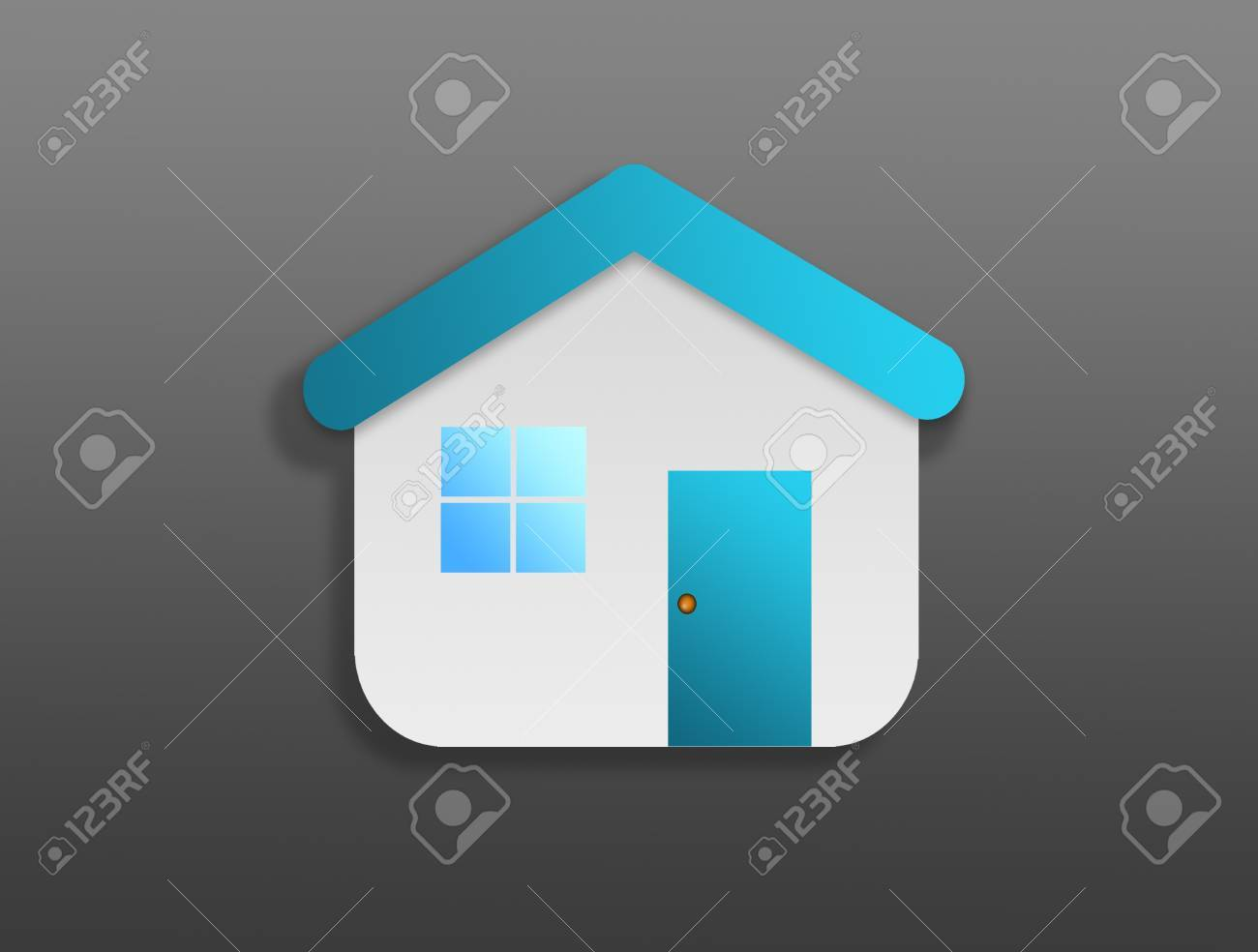 Blue house symbol over gray background.Family concept Stock Photo - 9314583
