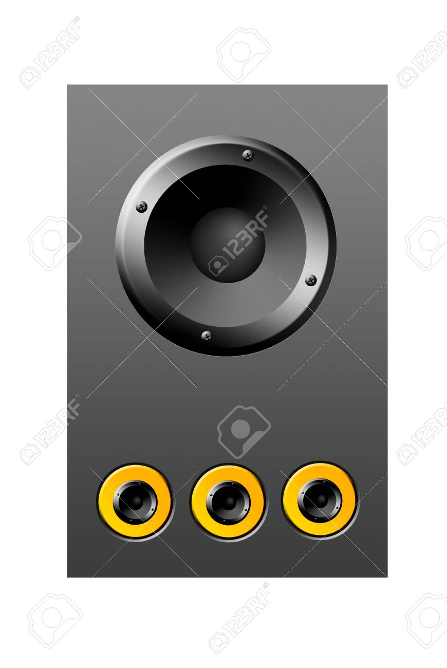 Gray and yellow speaker over gray background, object illustration Stock Photo - 9314516