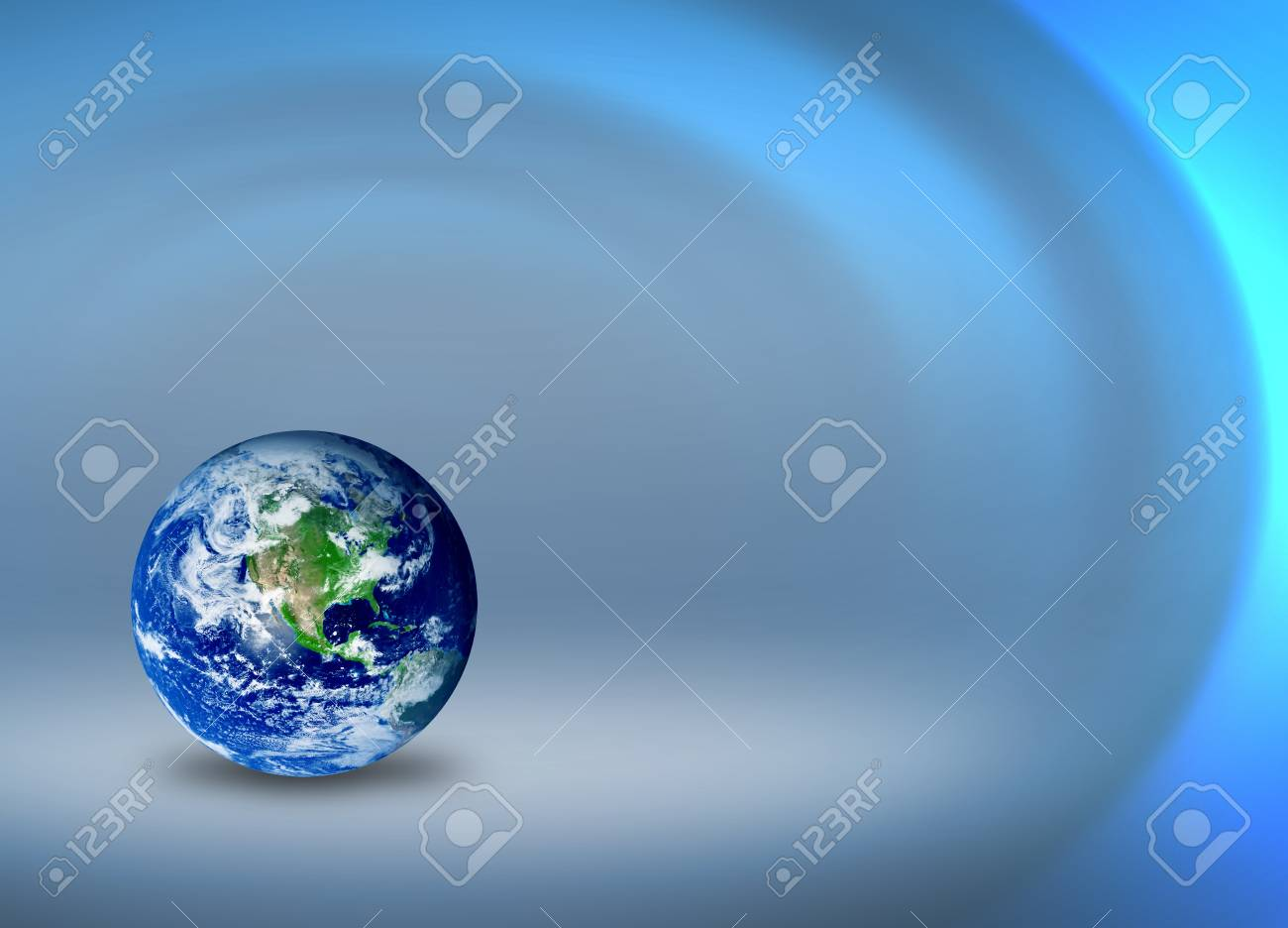 Model of planet earth over blue wave background Stock Photo - 9314816