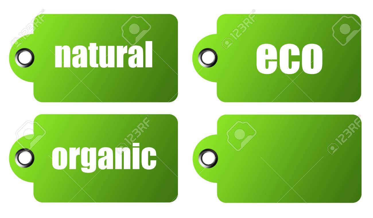 Green four labels to use ecological over white background Stock Photo - 9314547