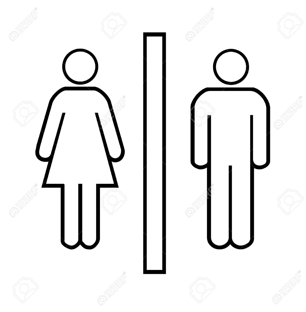 Restroom signs for men and woman over white background Stock Photo - 9314495