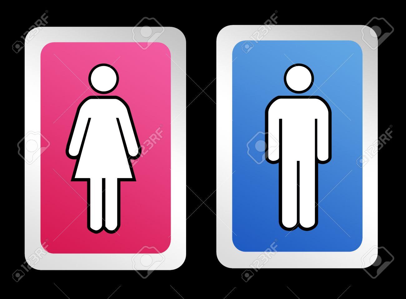 Signos De Baño Para Hombres Y Mujeres Sobre Fondo Negro Fotos