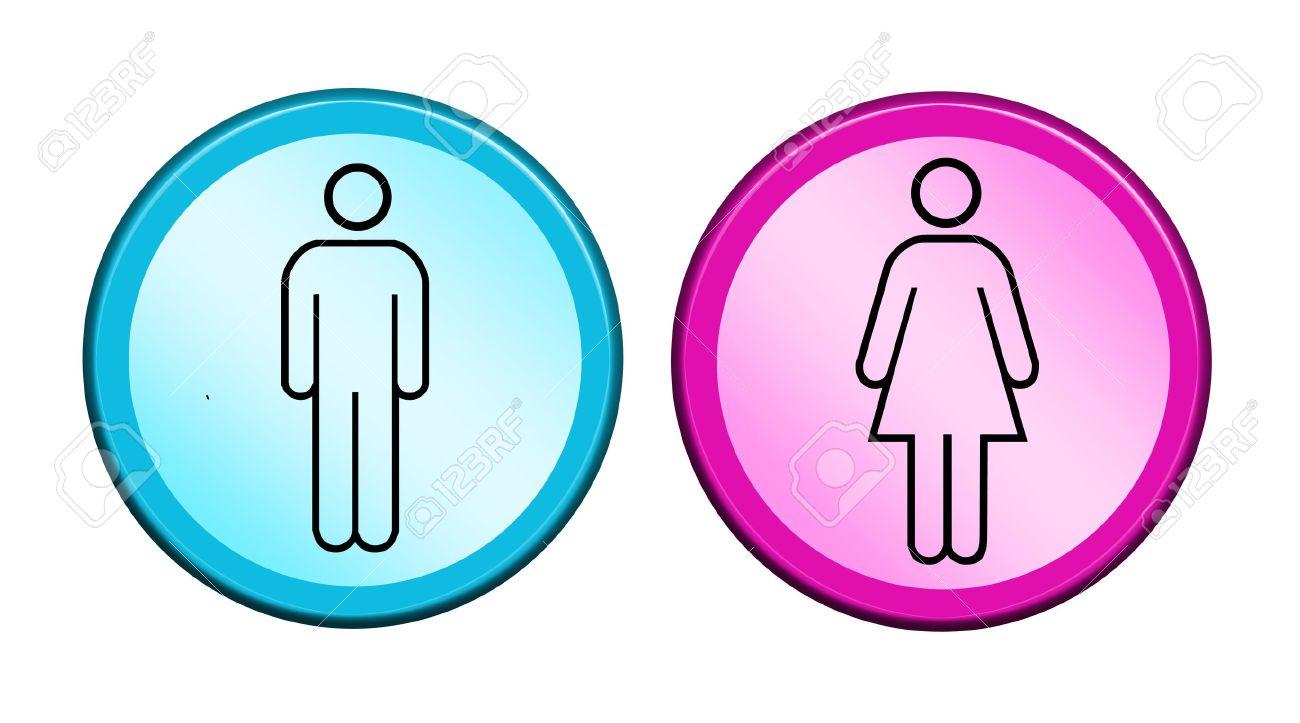 Rosa Y Azul Dos Botones Con El Símbolo De Hombre Y Mujer Fotos
