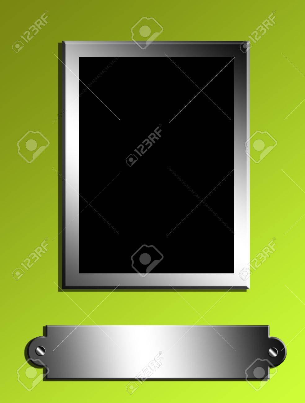 black rectangle  over green background. chrome frame Stock Photo - 9667254