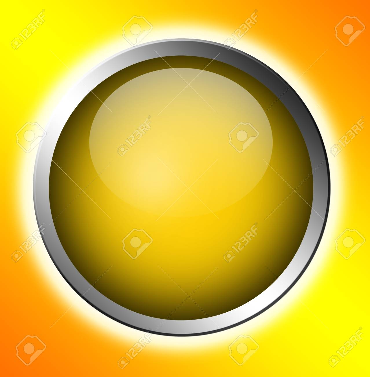 yellow button  over orange background. abstract illustration Stock Photo - 9667098