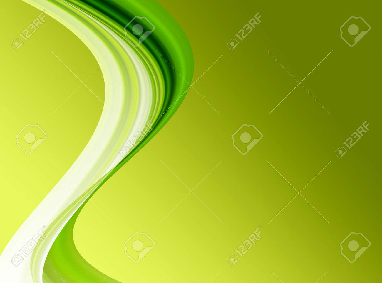 green wave over green background. abstract illustration Stock Illustration - 9667111