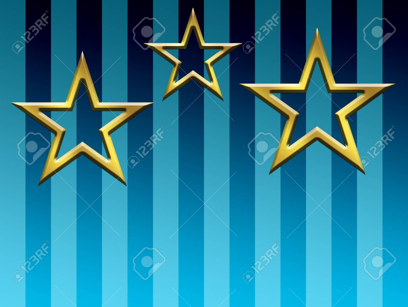 Gold stars over blue lines background. Illustration Stock Photo - 9692979