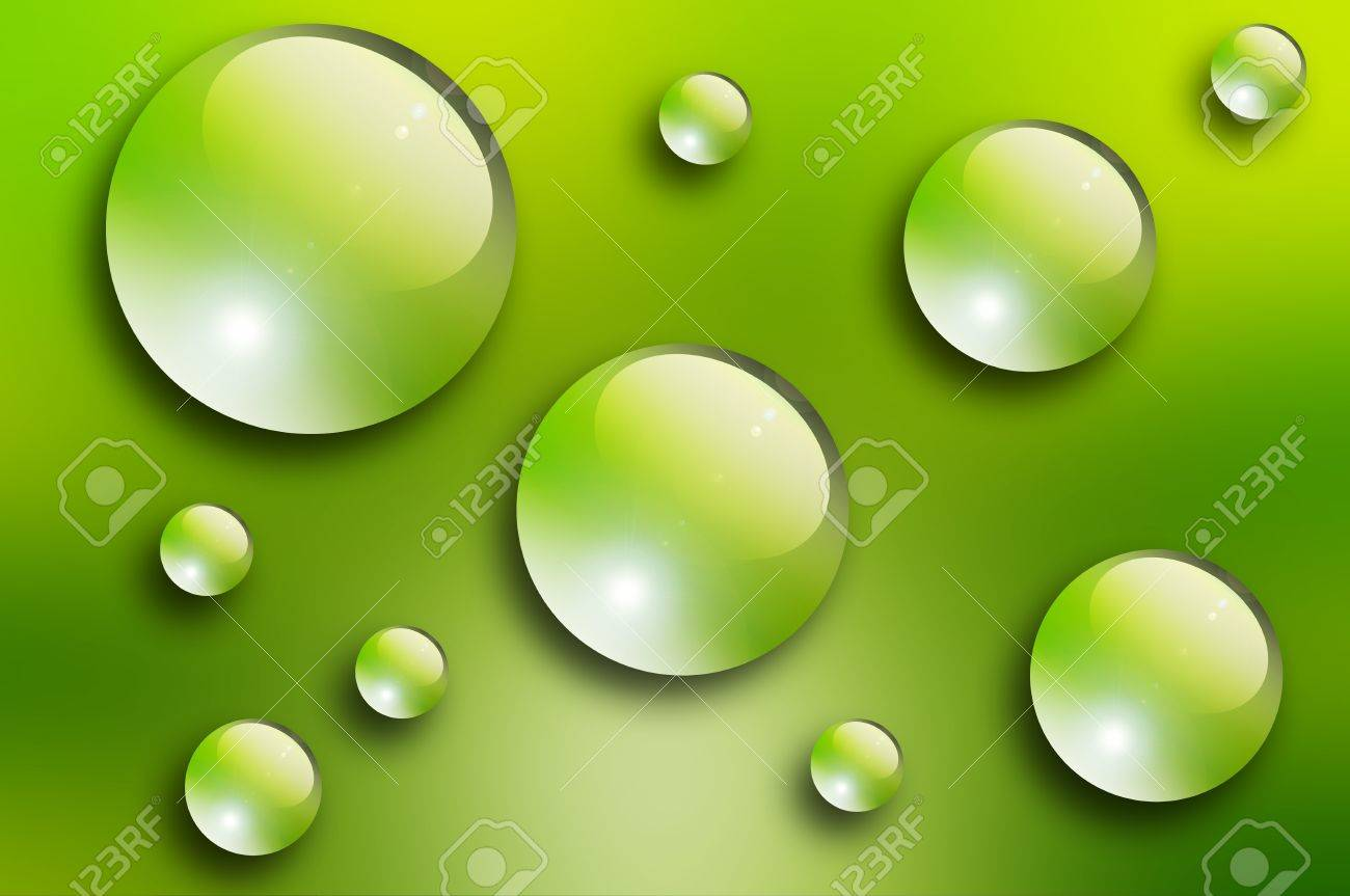 Water drops over green background. Nature illustration Stock Photo - 9692975