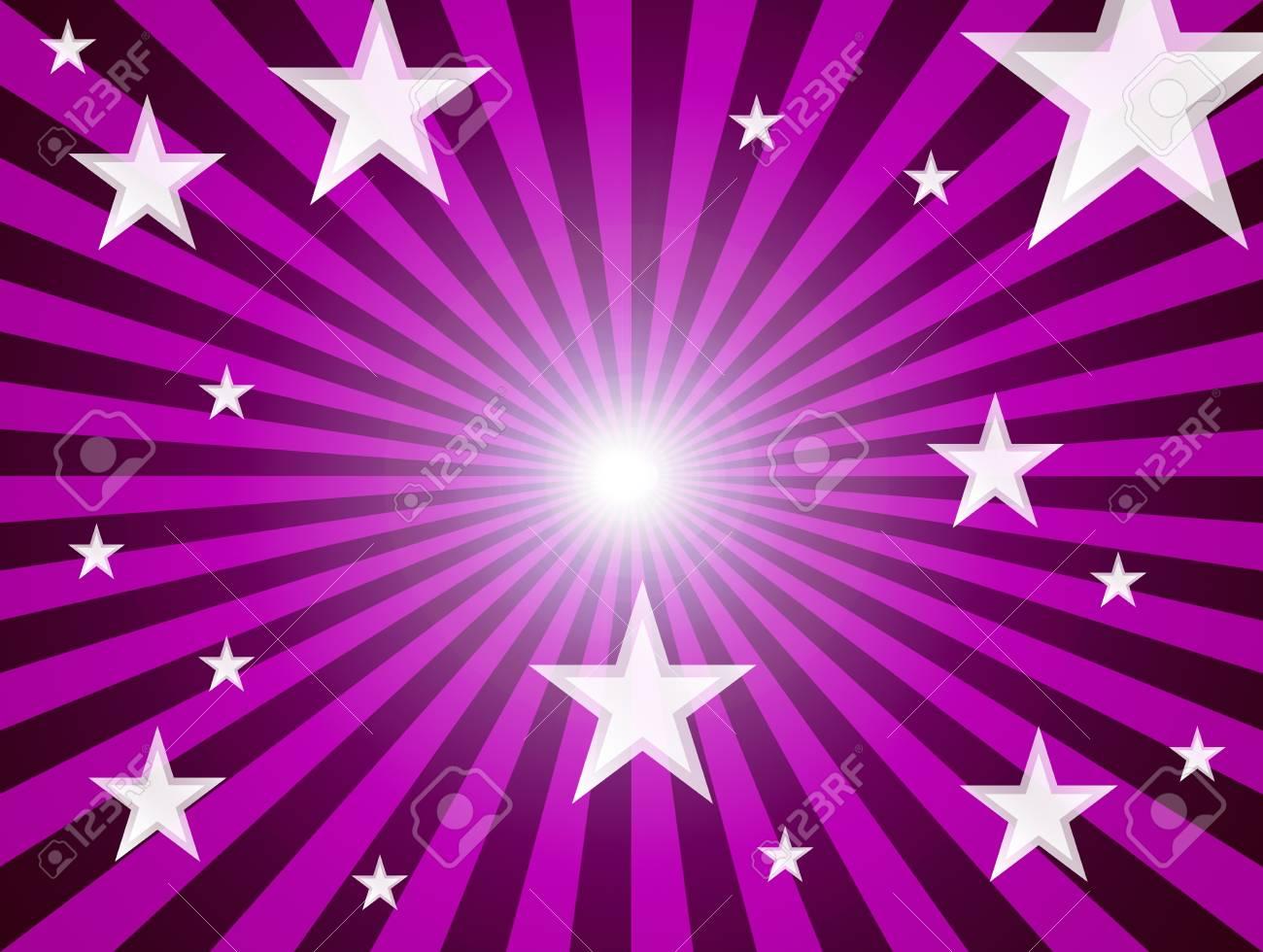 White staras over purple lines background. Abstract illustration Stock Illustration - 9692998