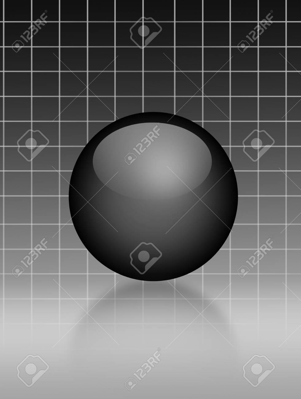 Black sphere over gray lines background. Illustration Stock Illustration - 9692940