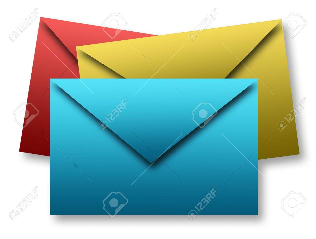 Blue, green and red envelopes over white background. Isolated illustration Stock Illustration - 9692976