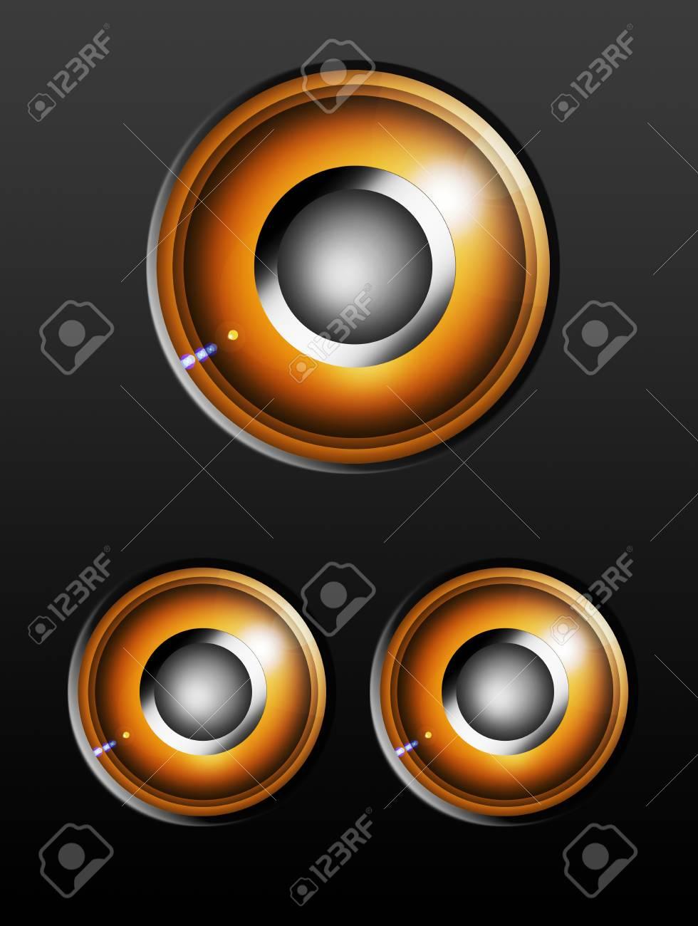 Three round orange speakers over gray background Stock Photo - 9693820