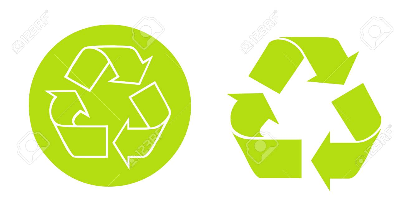 Recycle Simbols button and arrows Over white background Stock Photo - 9693049