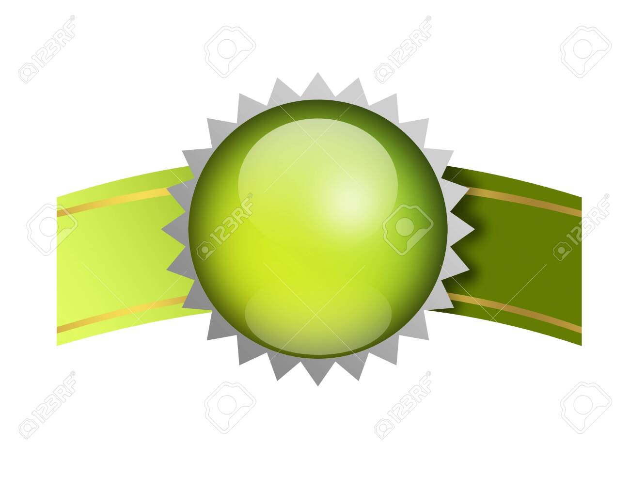 Green label with ribboon, empty to insert text or design, white background Stock Photo - 9693270