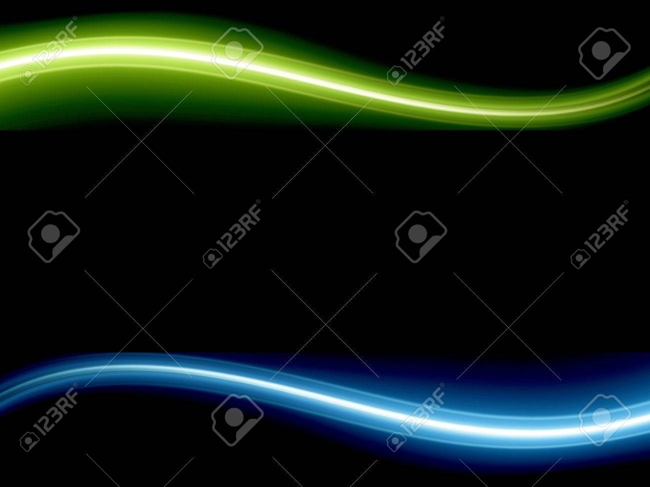 Blue and green dynamic wave over black background. Illustration Stock Illustration - 9693527