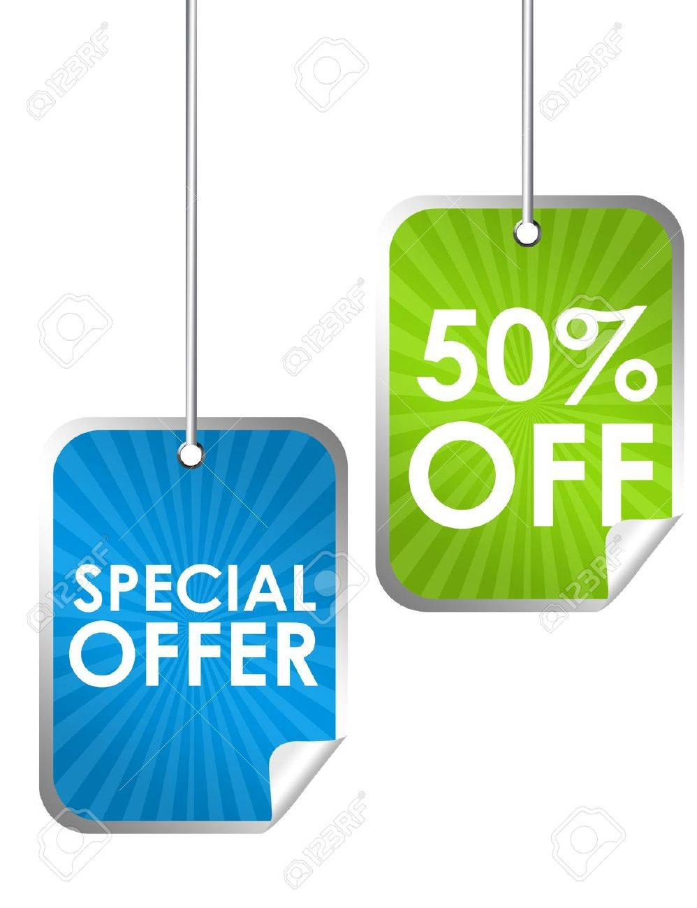 blue and green special offer labels isolated over white background Stock Photo - 9926535