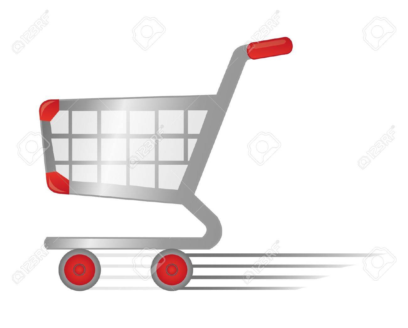 red and silver rapid shopping cart isolated over white background - 9926555