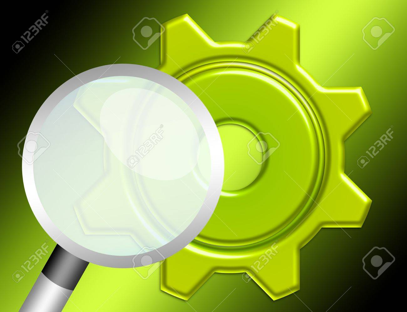 green gear and magnifying glass isolated over green background Stock Photo - 10143645