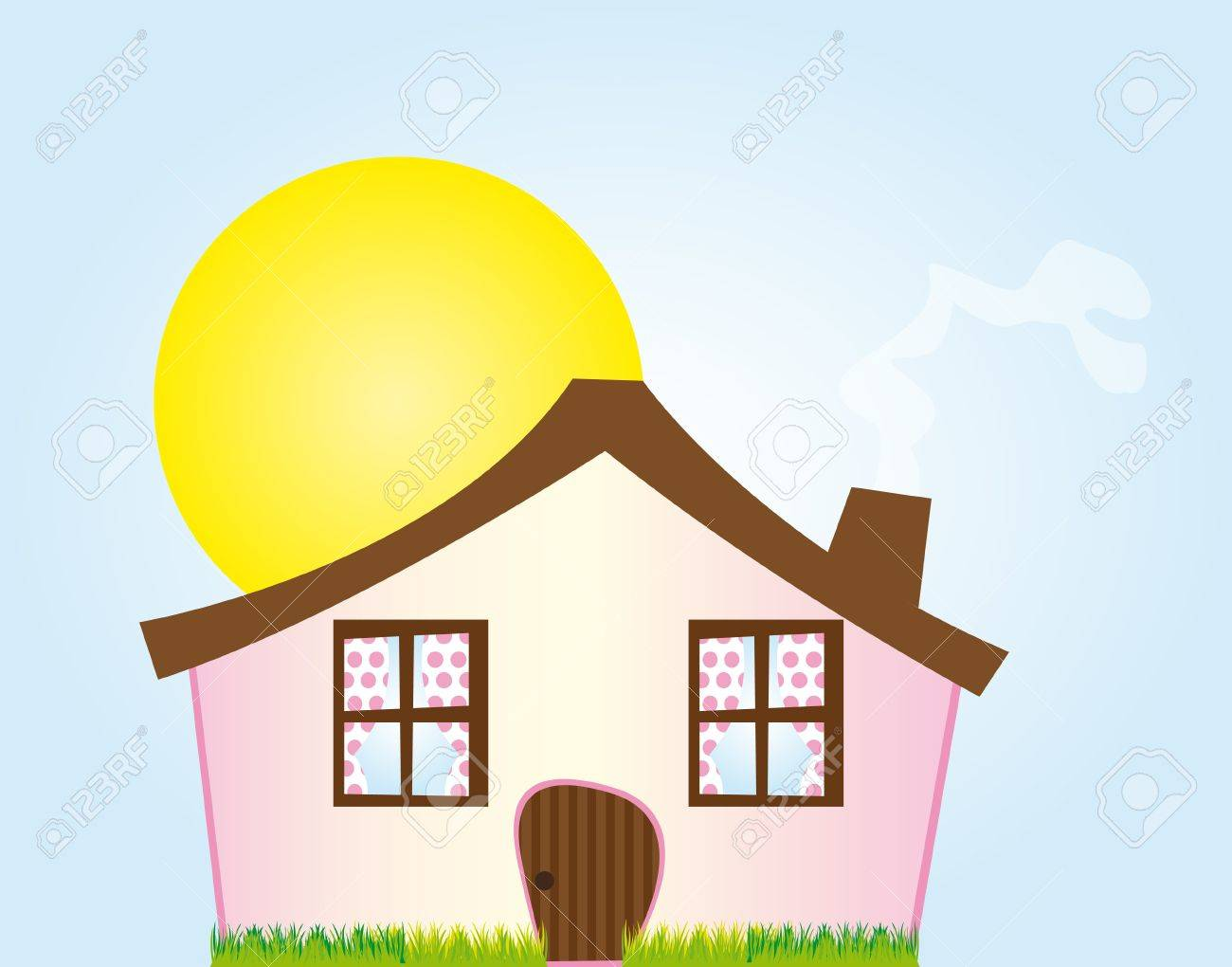 pink cartoon house with grass over sky with sun background. vector Stock Vector - 10263360