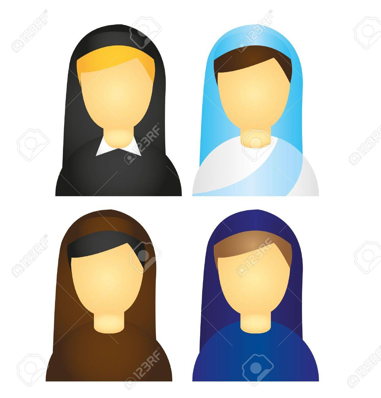 nun icons isolated over white background. vector Stock Vector - 10789980