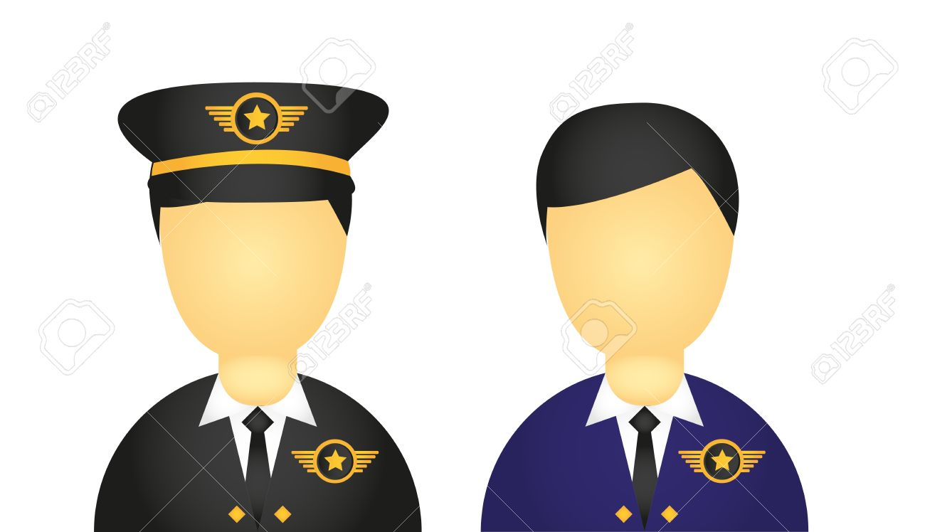 pilot with suit and hat icons isolated over white background. vector Stock Vector - 10790112