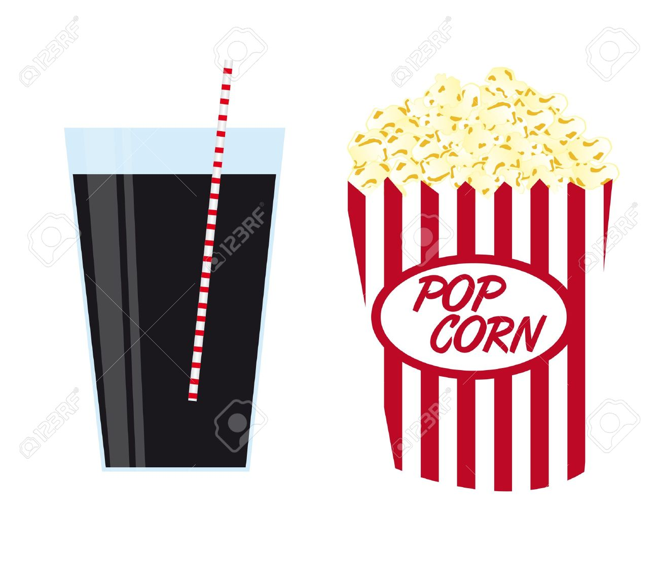 pop corn with black drink isolated over white background. vector Stock Vector - 10790414