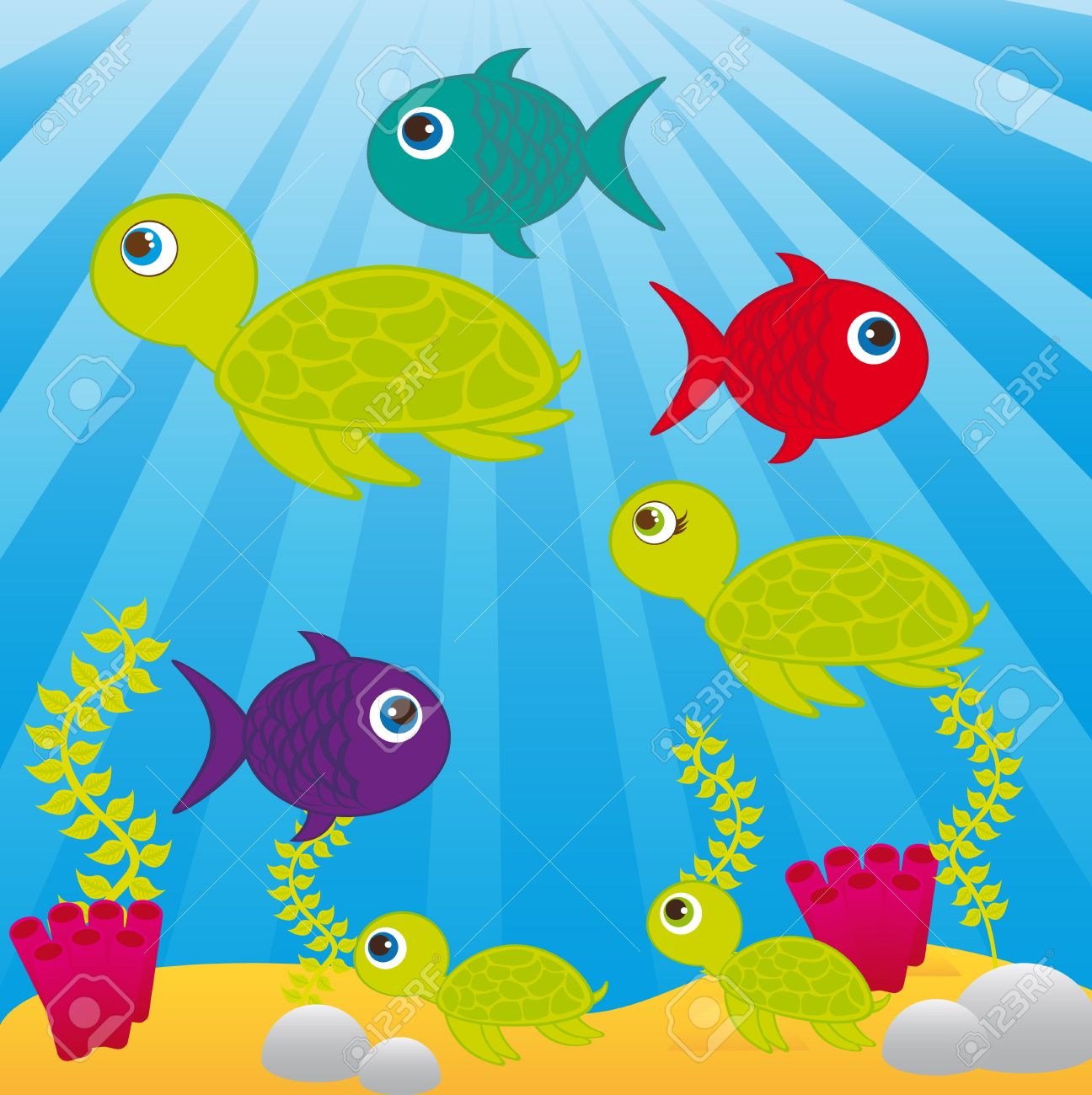sea cartoons with animals and leaves over sea background. vector Stock Vector - 10790477