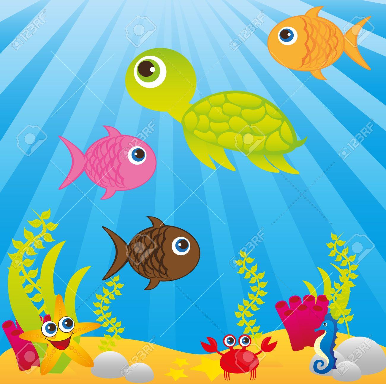 Dibujos Animados Fondo Del Mar Mar Con Dibujos Animados