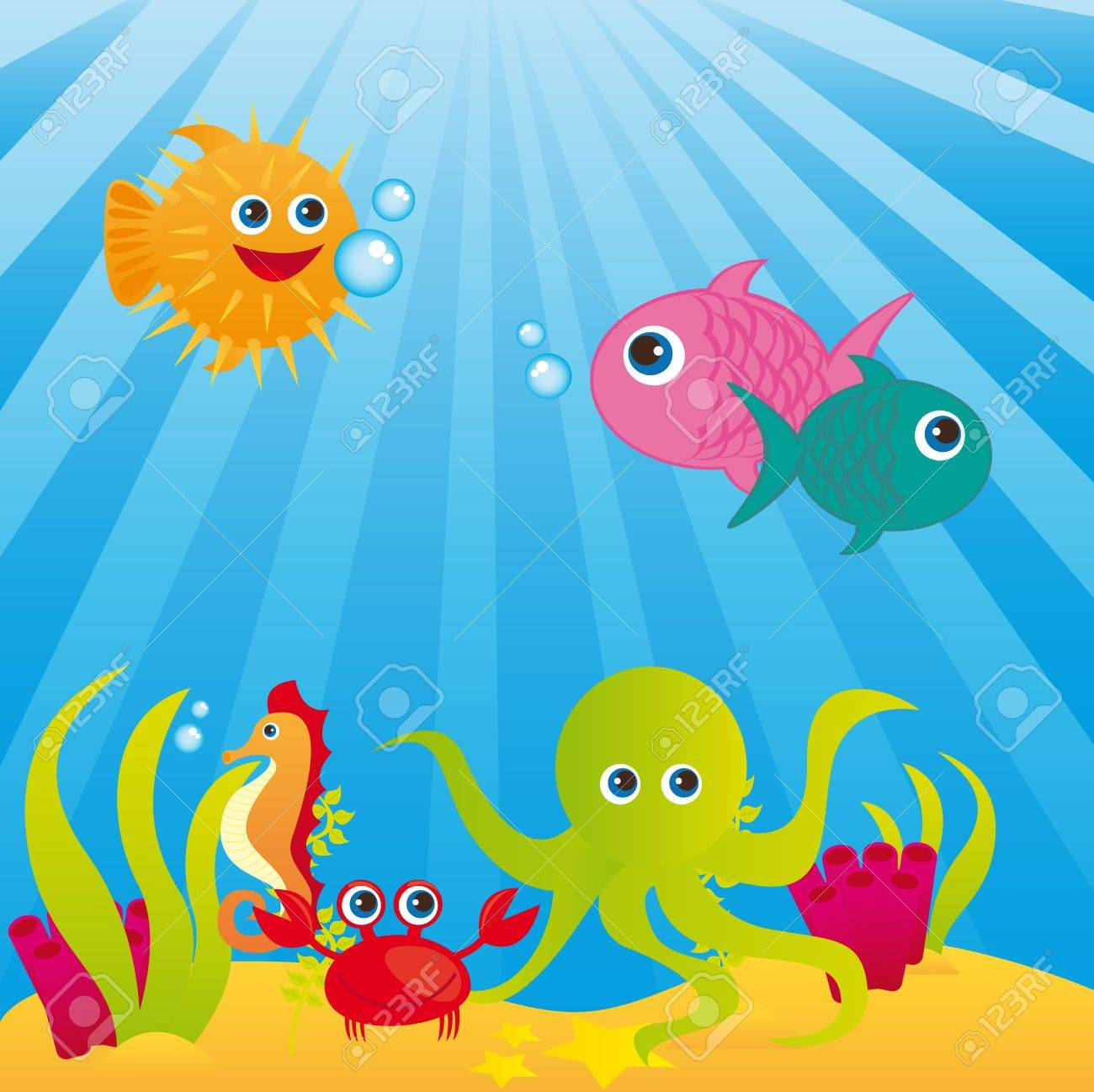 aquarium with animals of sea over sea background. vector Stock Vector - 10790474