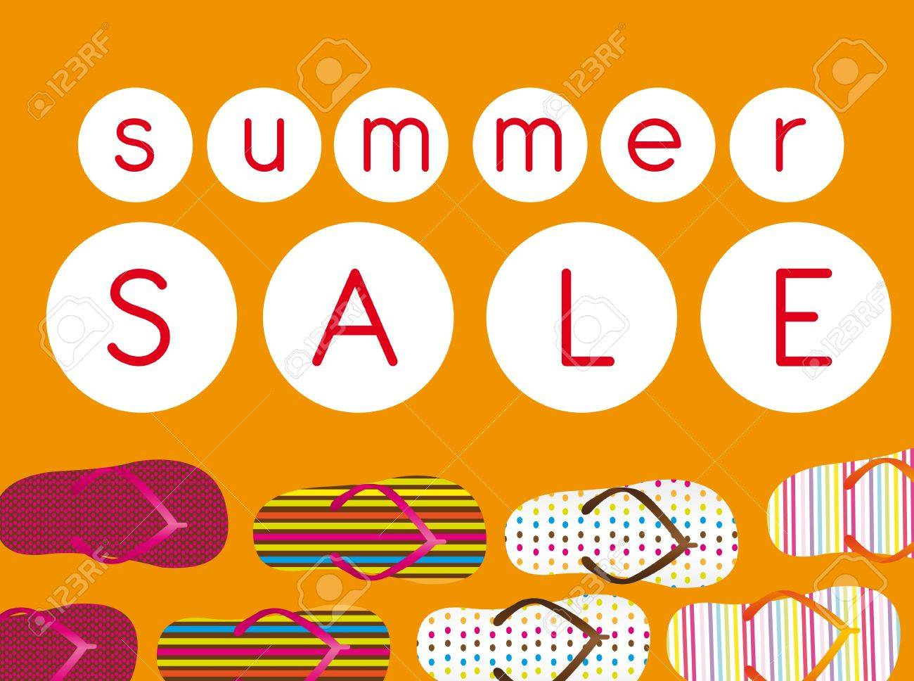 cda4c04ff184d colorful flip flops with red summer sale text over orange background.  vector Stock Vector -