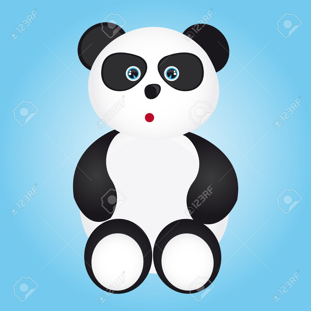 black and white panda cartoon over blue background. vector Stock Vector - 10790338