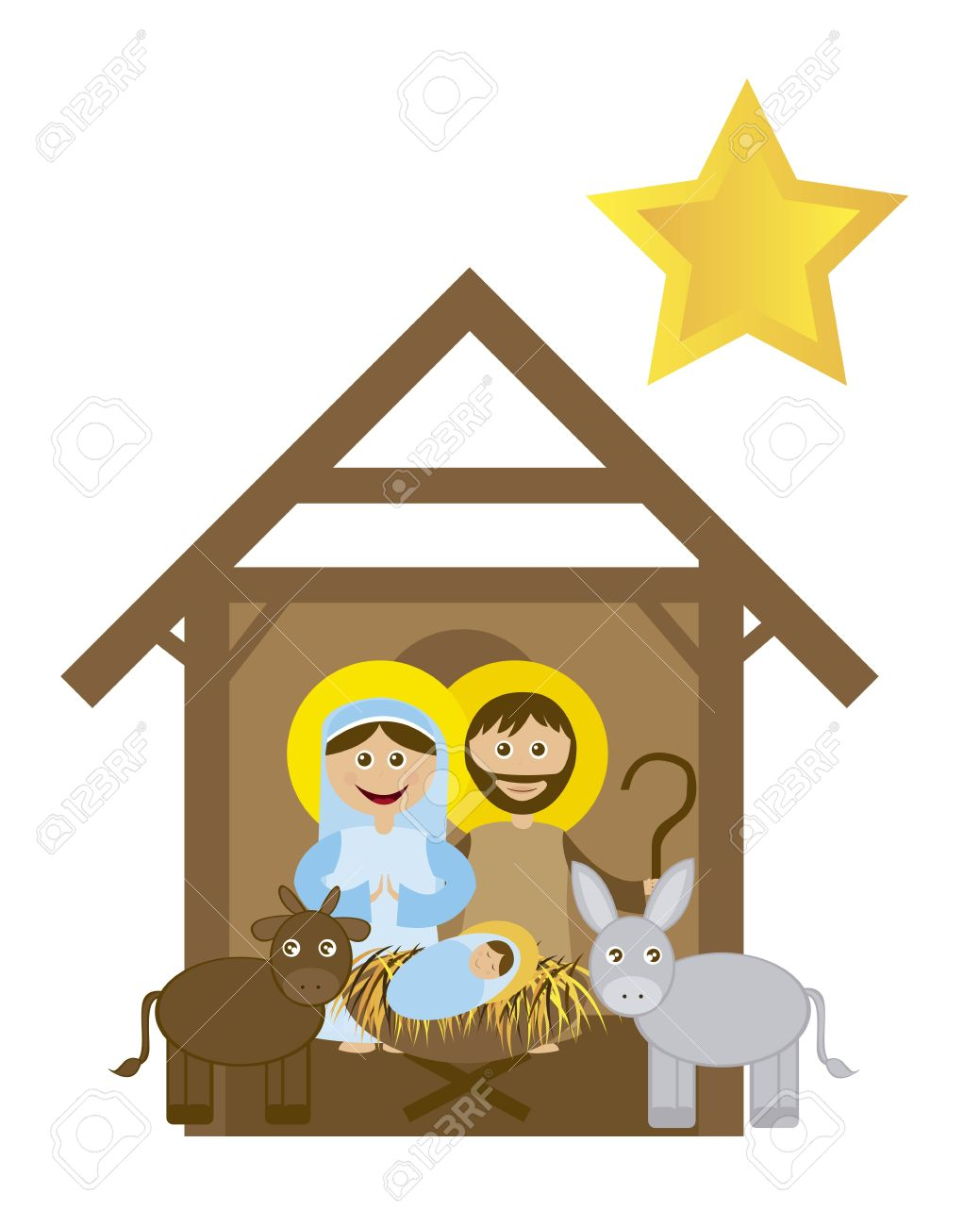christmas nativity scene with holy family isolated vector royalty