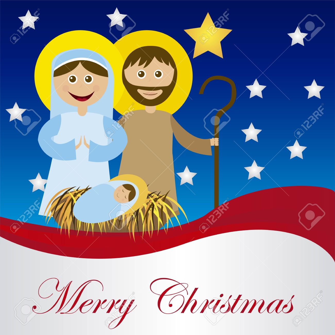 Christmas nativity scene with holy family card isolated. vector Stock Vector - 11011072