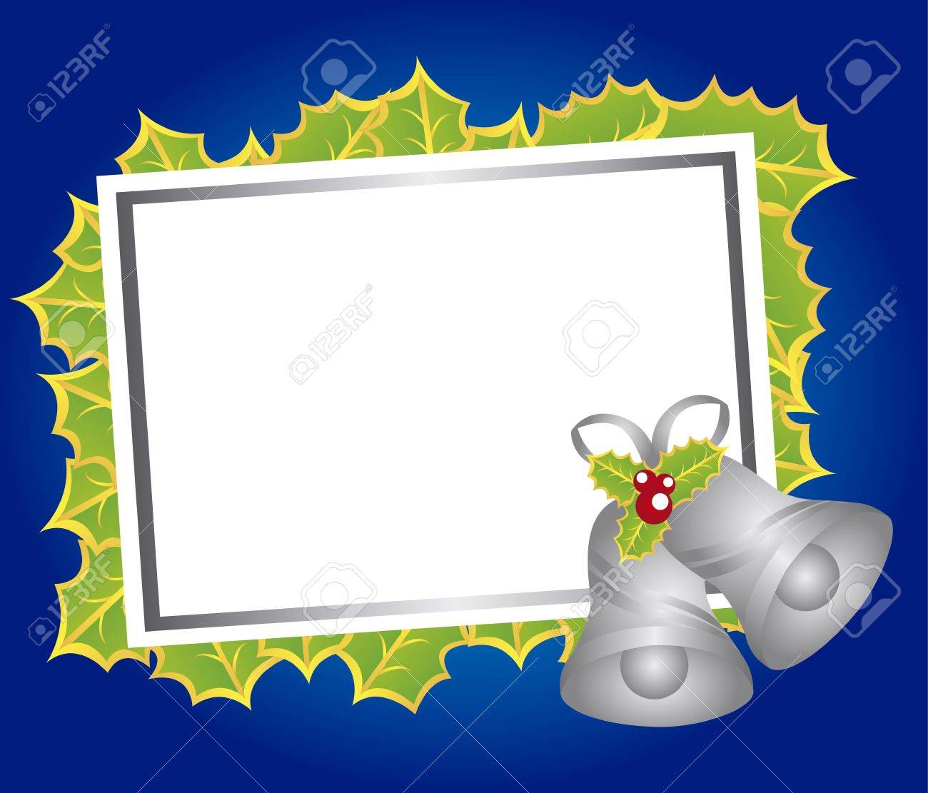 blank christmas card with bells over blue background. vector Stock Vector - 11107727