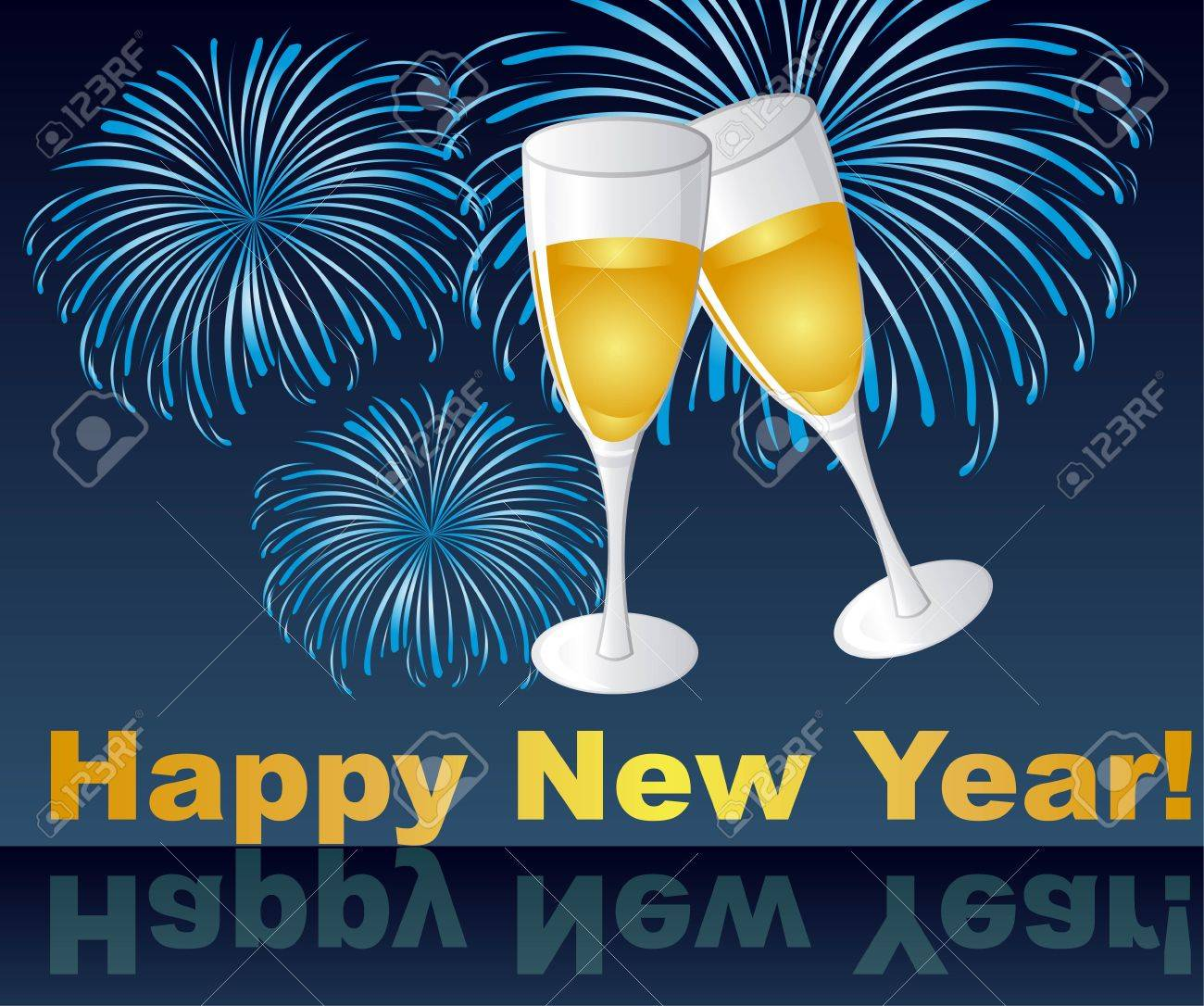 wine glasses on fireworks, happy new year. vector Stock Vector - 11107746