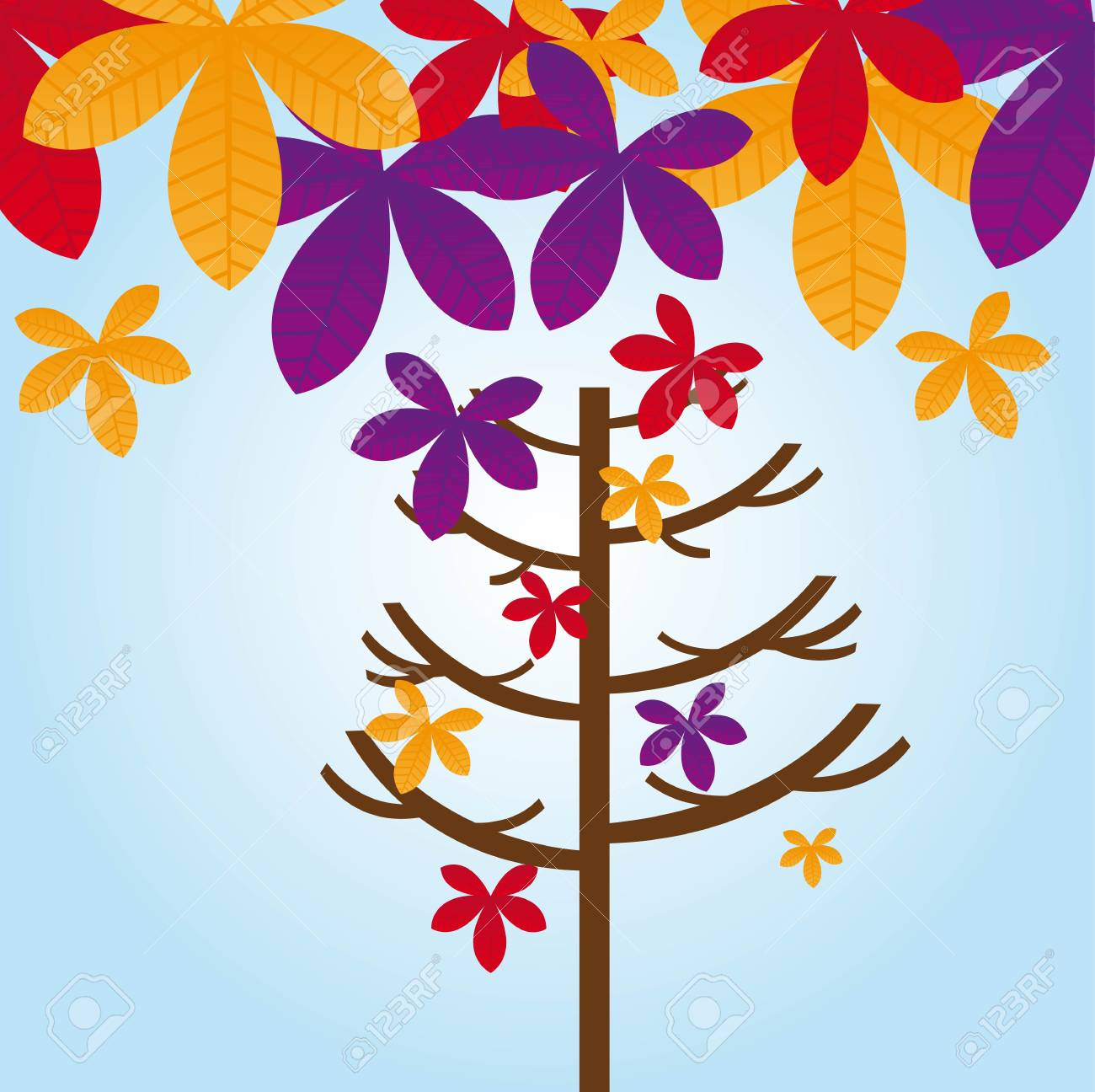 tree and leaves autumn over blue sky. vector illustration Stock Vector - 11309538