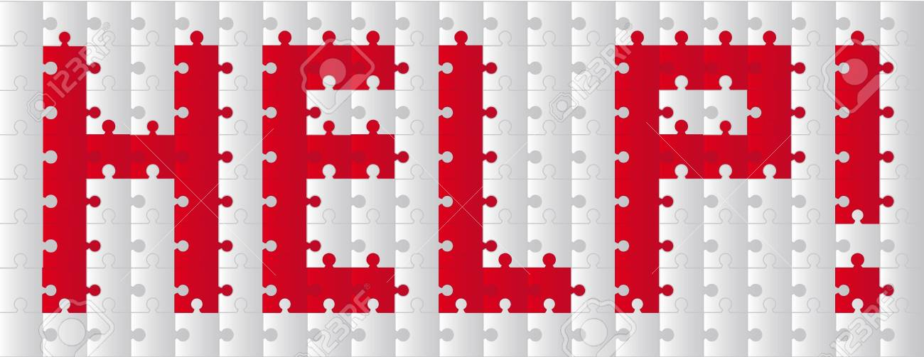 red and gray help puzzle over white background. vector Stock Vector - 11309555