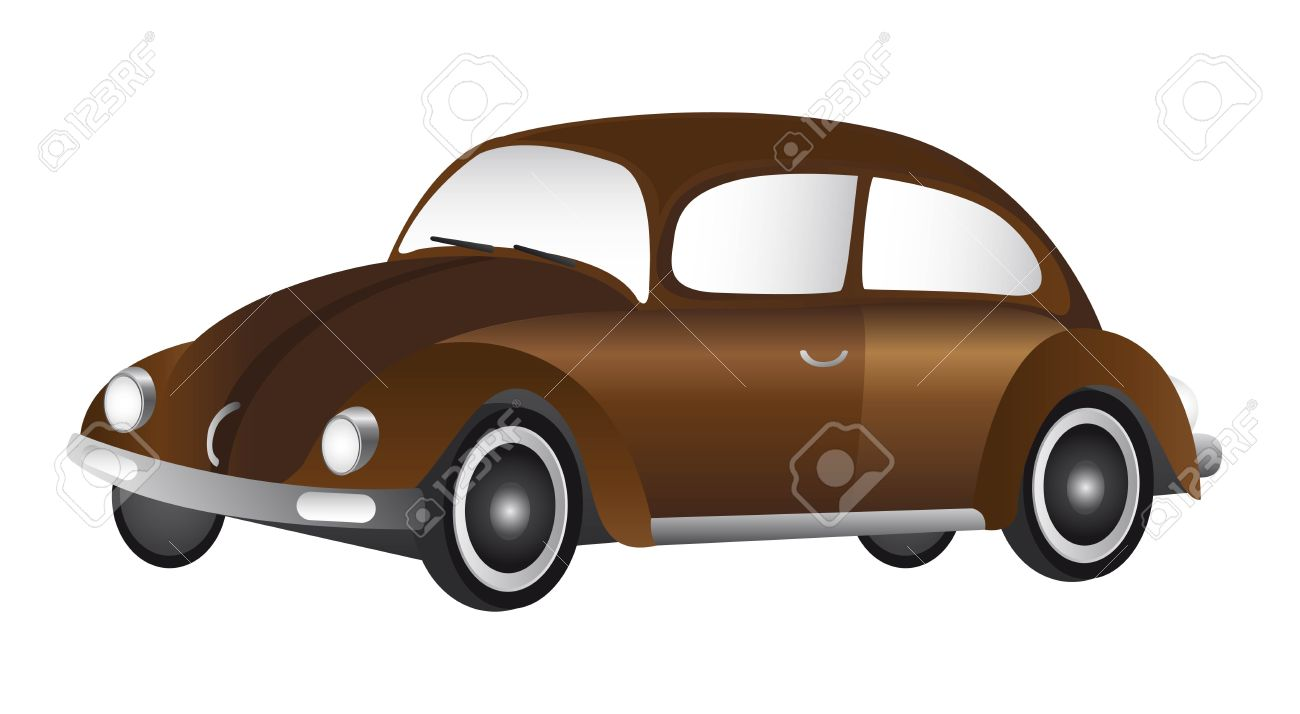 Brown Old Car Isolated Over White Background. Vector Royalty Free ...