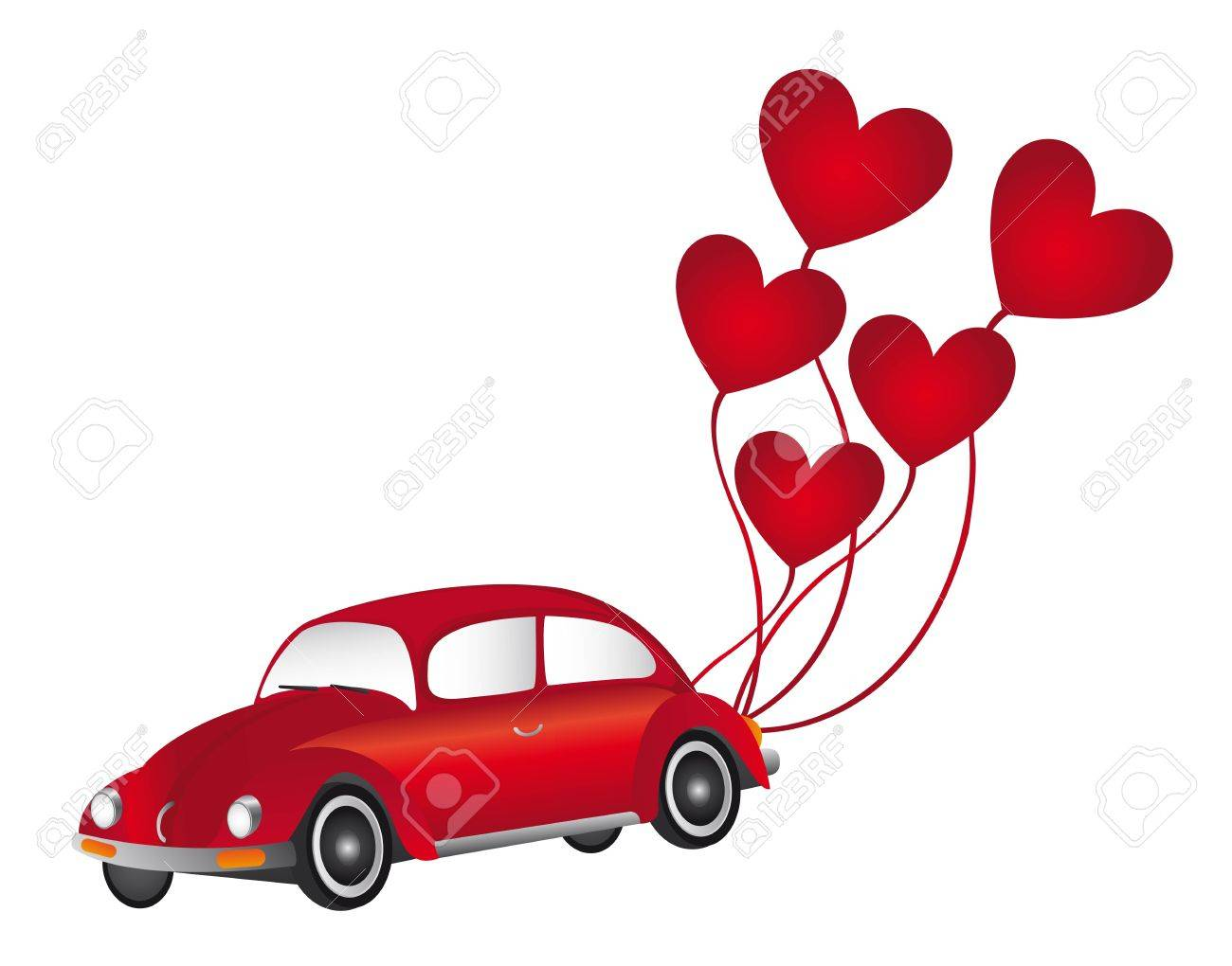 red car with hearth balloons over white background. vector Stock Vector - 11309491