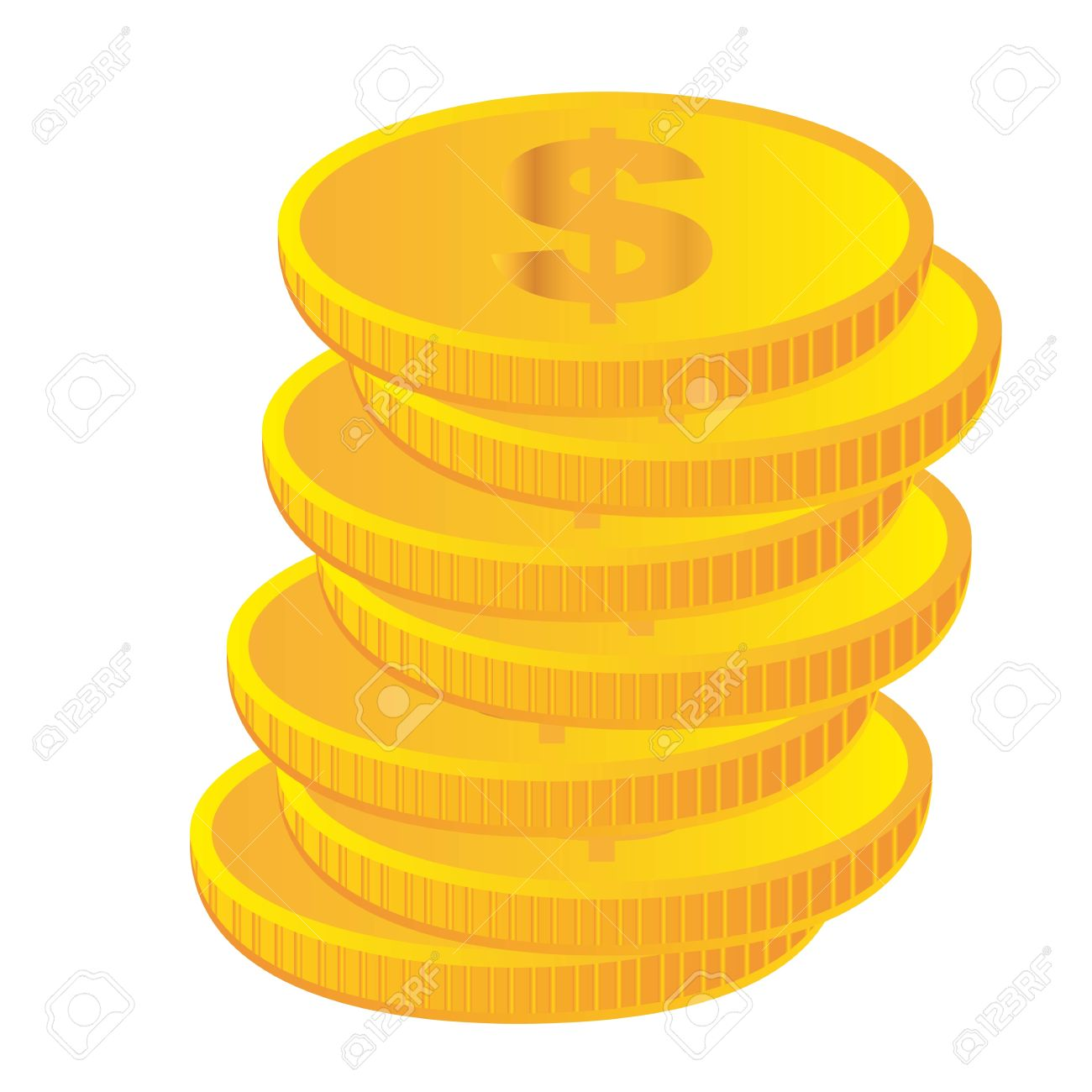 gold coins isolated over white background. vector Stock Vector - 11309547