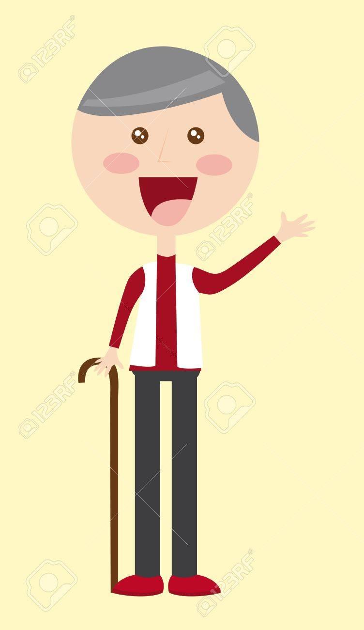 grandfather cartoon over beige background. vector illustration Stock Vector - 11516516