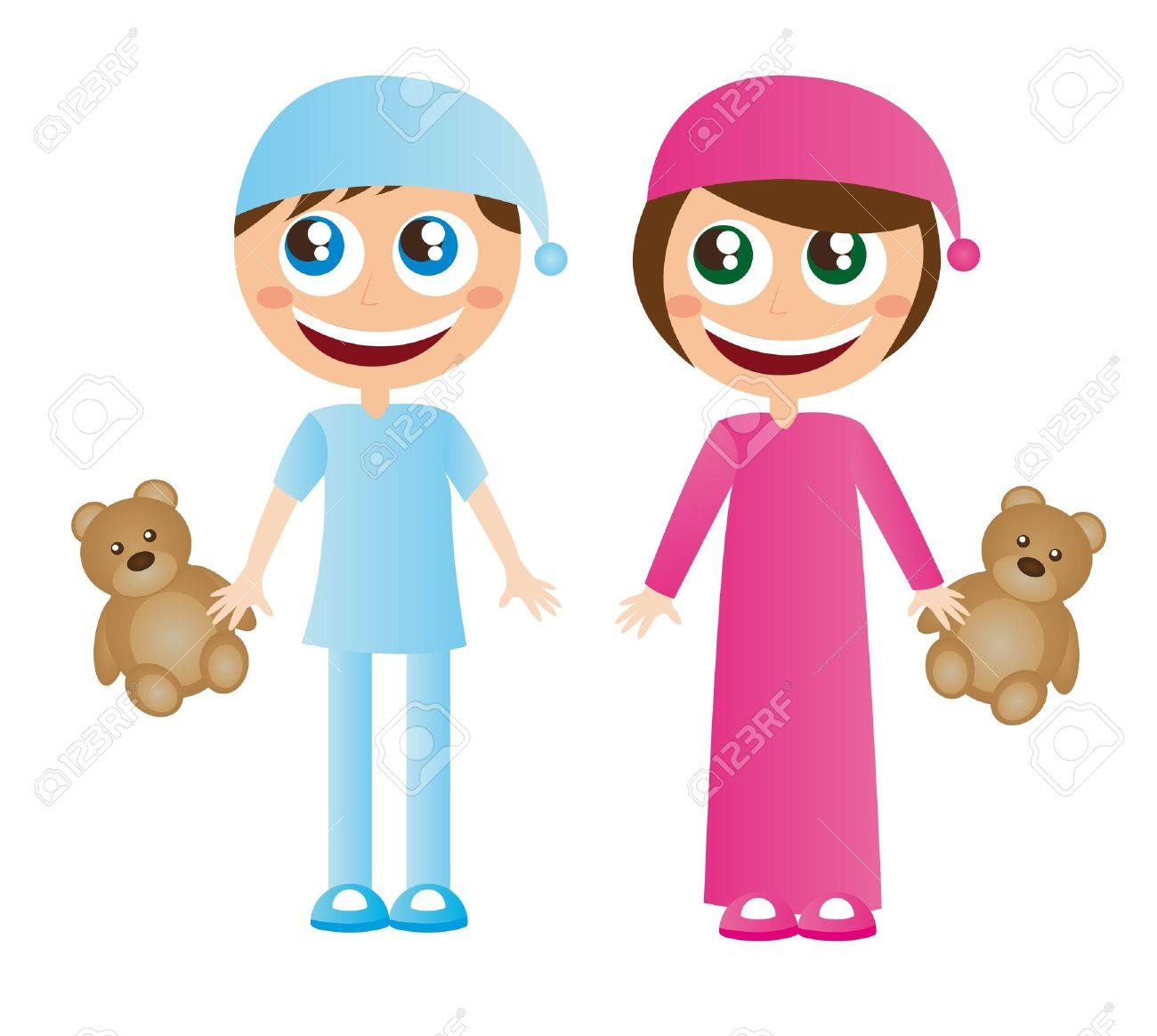 e3f5dba936 Foto de archivo - Los niños en pijama con dibujos animados sombrero con  osito de peluche vector