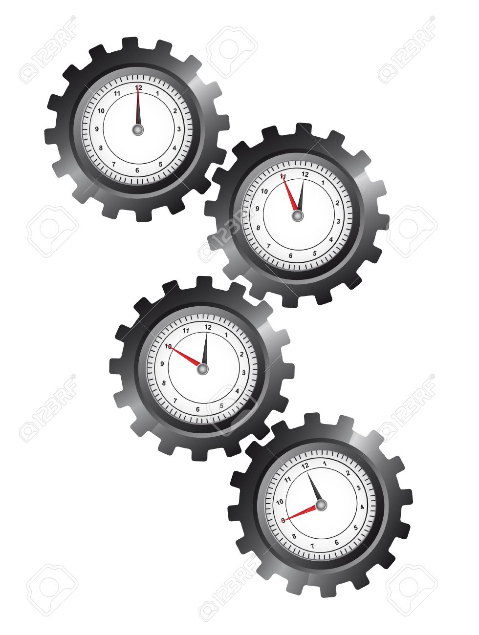 black gears with clock over white background. vector illustration Stock Vector - 11549356