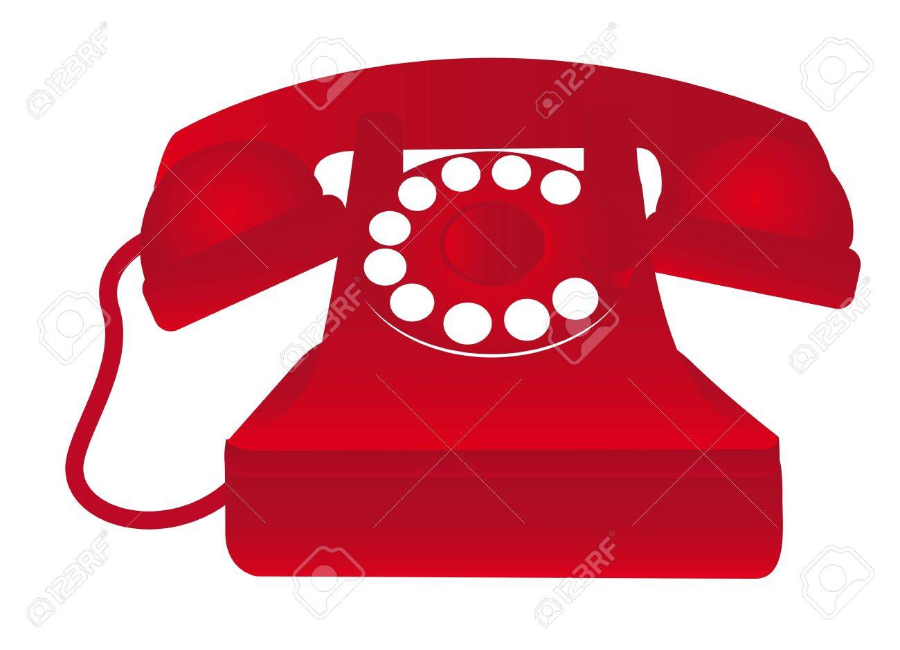 red old telephone isolated over white background. vector illustration Stock Vector - 11549286