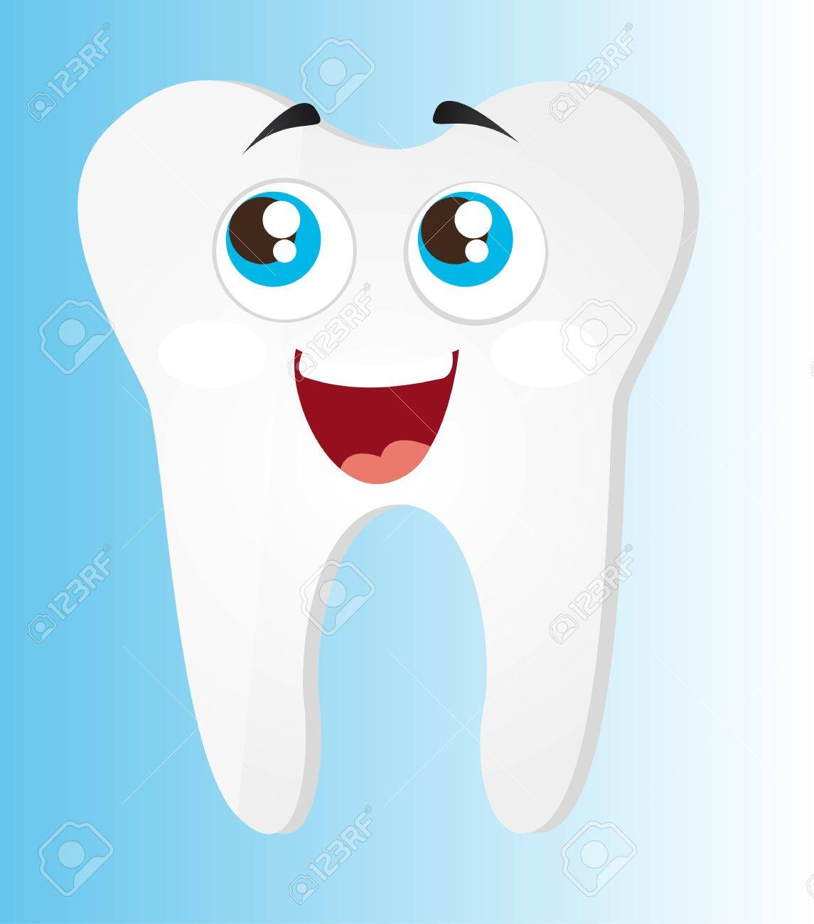tooth cartoon with eyes and mouth vector illustration Stock Vector - 11657380