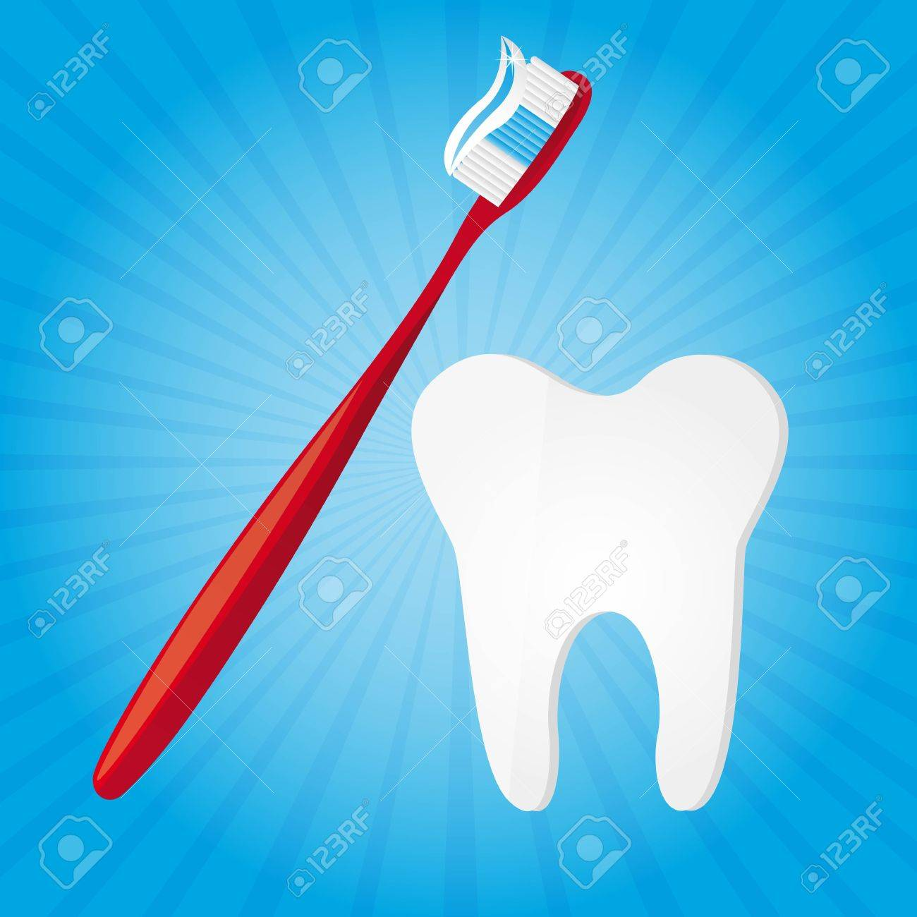 toothbrush and tooth over blue background vector illustration Stock Vector - 11657345
