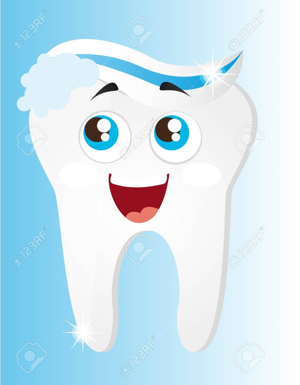 tooth with toothpaste and foam cartoon vector illustration Stock Vector - 11657333