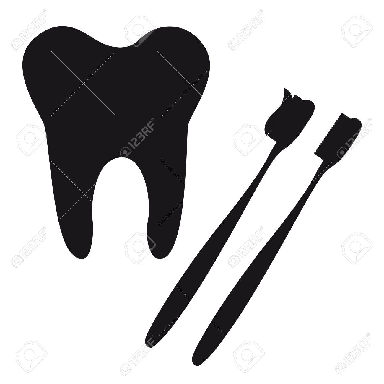 tooth and toothbrush silhouette isolated vector illustration Stock Vector - 11657385